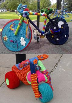 Bicycle #Crochet Inspiration for National Bike Month - yarnbombed bikes via Art of Yarnbombing
