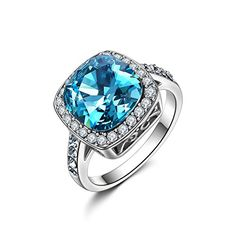 Forcolor White Gold Plated Women Ring Blue Crystal Square SWAROVSKI ELEMENTSby Forcolor