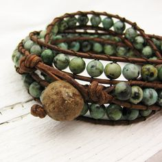 African Turquoise Leather 4x Wrap Bracelet / bohemian green mint natural woodland garden fresh fashion summer spring