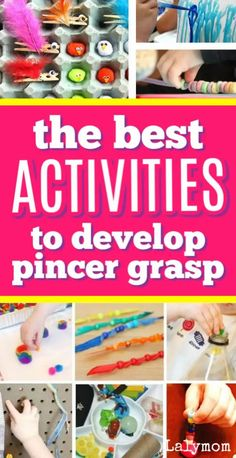 """Fine motor development is super important, and these 15 pincer grasp activities from LalyMom and friends will have your toddlers and preschoolers practicing this important developmental skill without even knowing it! Make fine motor learning fun and playful with these hands-on activities. Your kids will enjoy learning while they are """"playing."""" #finemotor #toddler #preschool #pincergrasp #OT #apraxia #lalymom Fine Motor Activities For Kids, Motor Skills Activities, Toddler Learning Activities, Toddler Preschool, Hands On Activities, Infant Activities, Fun Learning, Early Learning, Preschool Activities"""
