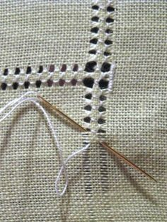 Hemming with drawn thread work - DIY hand hemstitched linen handkerchiefs - would be good for a small embroidery project on a corner Hardanger Hemstitched Linen - how to hand sew a decorative edge on linen - via Little House on the Suburbs It's a handk Hardanger Embroidery, Hand Embroidery Stitches, Embroidery Techniques, Ribbon Embroidery, Sewing Techniques, Cross Stitch Embroidery, Cross Stitch Patterns, Embroidery Designs, Loom Patterns