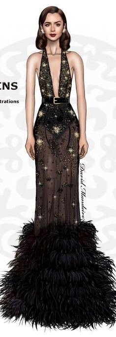 Lily Collins in Elie Saab by David Mandeiro