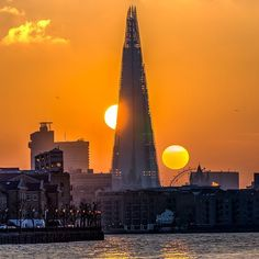 Dual Sunset at the Shard: I shot a time-lapse of the sunset going behind the Shard a few months ago. I thought it might be fun creating a composite of it as well. It turned out that it took me work than I thought since I am not a Photoshop expert by any means. I thought it turned out fairly well though. I shot this from the shore of the Thames in the Canary Wharf area.  #cityscape #london #theshard #thames #sunset #sonyalpha #sonyimages by davidrrobinson.photo