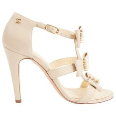 aa599b6dbc5 Preloved Chanel Beige Leather Strap Bow Pearl stiletto high heel sandals EU  37.5 US 6.5