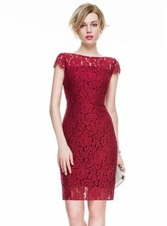 Sheath/Column Scoop Neck Knee-Length Lace Cocktail Dress (016083916)