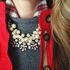 plaid + gray + statement necklace