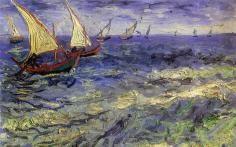 Pintados a mano Paisaje Van Gogh Fashing del barco en el mar Sala de niños/Cuarto de estar Impresionista Pintura al óleo