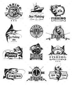 Set of Vector Fish Badges by vectorpocket Set of vector badges, stickers on catching fish. Emblems for fishing club, tournaments