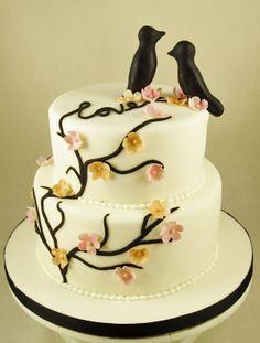 Tree of Life Design on white Fondant wedding cake with handmade Fondant Lovebirds Topper. #weddingcakes, #fondantcakes, #specialeventcakes