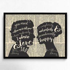 Originaldruck - Stolz und Vorurteil, Jane Austen Zitat, Kunstdruck - ein Designerstück von ColorfulCloud bei DaWanda