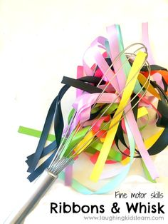 Fine motor ribbon and whisk activity - Laughing Kids Learn Toddler Fine Motor Activities, Motor Skills Activities, Sensory Activities, Infant Activities, Toddler Preschool, Fine Motor Skills, Preschool Activities, Early Learning, Kids Learning