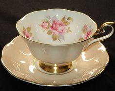Royal Albert ENCHANTING ROSE GOLD PEACH Tea cup and saucer