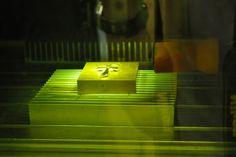 Laser engraving process - view through the laser window - Pafco Casting
