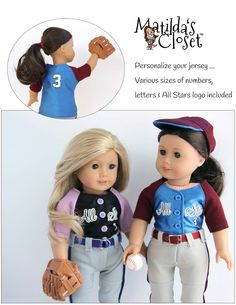 "Atta Girl Baseball / Softball Uniform 18"" Doll Clothes"