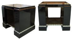 "Paul T. Frankl (1886 - 1958) Pair Of Skyscraper Side Tables (1930s)  Pair of Bakelite ""Skyscraper"" side tables, each with a burl wood center and burl wood border below the top edge and a burl wood lined recess at the bottom; with a fluted, cast aluminum edge around the bottom. Metal label affixed to underside of tabletop: INVENTORY NUMBER 169649 Height: 24 in (61 cm) Width: 28 ⅛ in (71.4 cm) Depth: 21 ¼ in (54 cm)"