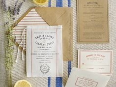 Farmer's Market-Inspired Grain Sack Wedding Invitations via Oh So Beautiful Paper: http://ohsobeautifulpaper.com/2014/04/vintage-inspired-fabric-wedding-invitations/   Design + Photo: Lucky Luxe Couture Correspondence #letterpress #rustic #wedding