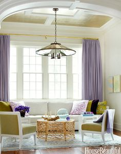 "Lavender, chartreuse, and aqua make a happy color combination in a Scarsdale, New York, living room. ""They're bold colors,"" says designer Pat Healing, ""so I used them only as punctuation."" Bird's Nest Cocktail Table by HB Home; Campion chandelier, Urban Electric.    - Veranda.com"