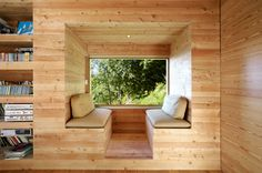Cool seating area, built in bench. You don't have to have a mounti  ain to have a retreat!