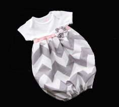 BOUTIQUE Baby CHEVRON LAYETTE... Infant gown. $30.00, via Etsy.