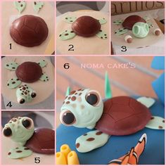 tarta cake buscando a nemo finding dori tortuga turtle mud cake tutorial… Turtle Tutorial por Noma Cakes - O Diretório Cake - Tutoriais Sea turtle from fondant Squirt the sea turtle how to free photos of fondant tutorials - Bing images Finding Nemo Cake, Finding Dory, Decors Pate A Sucre, Fondant Animals, Mud Cake, Fondant Decorations, Fondant Toppers, Cupcake Toppers, Fondant Icing
