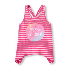 Girls Sleeveless Graphic Striped Racer Back Shark-Bite Top - Pink - The Children's Place