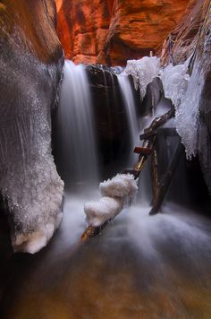 The cold waterflow in the Upper Kanarra Creek Falls--- Zion National Park. Zion National Park is located in the Southwestern United States, near Springdale, Utah Beautiful Waterfalls, Beautiful Landscapes, Zion National Park, National Parks, Parque Natural, Photos Voyages, Natural Wonders, Amazing Nature, Belle Photo
