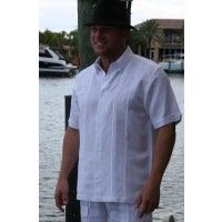 Ivory....$80...Embroidered Shirt with two  Pleats. Linen 100%