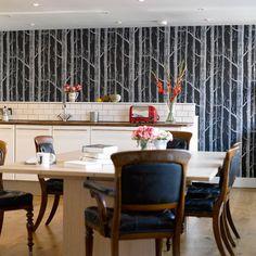 wallpaper for walls dramatic | Tree print wallpaper | Kitchen wallpaper | Kitchen design | PHOTO ...
