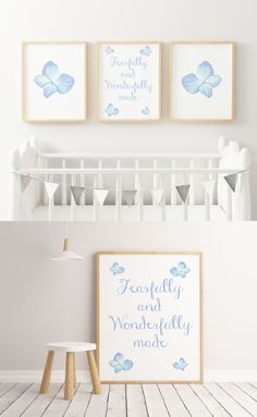 "☆ A Beautiful Nursery Decor Set of 3 Prints for Your Little One. Two cute characters and one Bible verse.☆  ""Fearfully and Wonderfully made."" Psalm 139:14  Make the nursery joyful and colorful with this set of prints!   Instant download print-ready digital file: A4 8"" x 11""  Letter 8.5"" x 11"""
