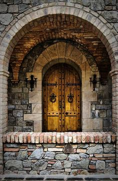use reclaimed castle double doors not as the exterior front door, but as a second set of interior doors.