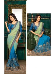 b7a5265e834a3 New Green   Blue Designer Georgette Saree Raw Silk Blouse Wedding Bridal  Sari 2
