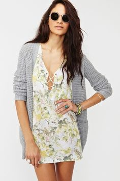 floral dress with grey sweater