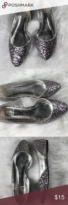 Material Girl Slip on Flats Silver Preowned Preowned pair of Slip on Flats.  Silver Glittery finish. Gently worn. Material Girl Shoes Flats & Loafers