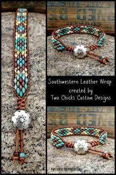 Southwestern inspired beaded leather wrap bracelet created by Two Chicks Custom Designs Leather Bracelets, Leather Jewelry, Beaded Jewelry, Beaded Bracelets, Wrap Bracelets, Beaded Leather Wraps, Handmade Bracelets, Seed Beads, Macrame