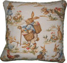Rabbits on Blue Needlepoint Pillow