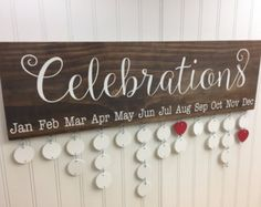 Handmade Family Birthday Board - Family Celebrations Board - Family Birthday Calendar - Celebration Board - Wall Hanging by InfiniteDesigns4u