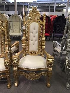 2 Carved Mahogany King Queen Lion Gothic Throne Chair Comes in Various Unique Colors White and Gold Lion Accent Chair