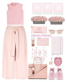 """the culottes chic pastel pink"" by licethfashion ❤ liked on Polyvore featuring RED Valentino, Mamonde, Oliver Peoples, Kate Spade, adidas, Rimmel, Yves Saint Laurent, Valentino, L'Oréal Paris and River Island"