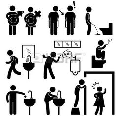 pictogram man: Funny Public Toilet Concept Icon Symbol Sign Pictogram