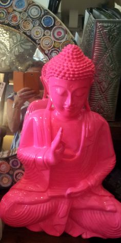 Fluoro Pink RESIN BUDDHA STATUE-in Bright Funky Colour
