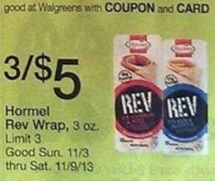 Hormel Rev Wraps Just $1.33 Each at Walgreens Starting 11/03