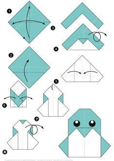 How to Make an Origami Penguin Instructions Origami Rose, 3d Origami, Origami Wall Art, Origami Paper Folding, Origami Templates, Origami Dragon, Paper Crafts Origami, Useful Origami, Paper Crafts For Kids