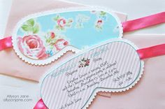 Allyson Jane: Shabby Chic Pajama Party Invitations. check out website on photo for cute pink wafer cookie (soap bar) idea