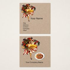 SPAGHETTI PARTY ITALIAN KITCHEN TOMATOES Kraft Square Business Card #food #culinary #woman #chef #cook #events