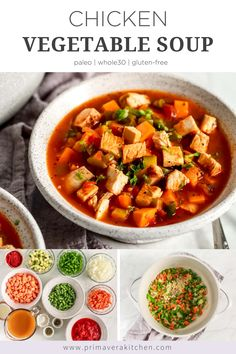 Chicken vegetable soup is a comfort food we all crave in the winter. This warm satisfying recipe is turned into a healthier soup with lots of fresh veggies. Vegetable Soup With Chicken, Vegetable Soup Recipes, Chicken And Vegetables, Veggies, Best Gluten Free Recipes, Whole 30 Recipes, Paleo Recipes, Lunch Recipes, Dinner Recipes