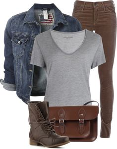 """""""Jean Jacket, Grey T-Shirt, and Brown Jeans"""" by fashion-766 on Polyvore"""