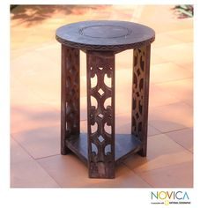 Sese Wood 'Strength and Humility' Accent Table (Ghana) 16.5 inches high x 11.8 inches diameter $173.49