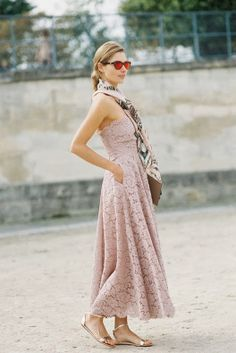 Lace dress + scarf