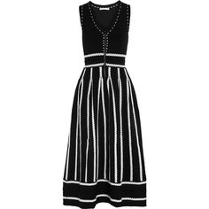 Maje Regret embroidered stretch jacquard-knit midi dress (2.750 HRK) ❤ liked on Polyvore featuring dresses, black, fit-and-flare midi dresses, stretchy dresses, jacquard knit dress, stretch dress and stretch knit dress