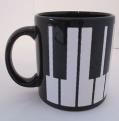 Waechtersbach Germany Piano Keys Keyboard Coffee Mug Tea Cup black Vintage #Waechtersbach #coffeemug #pianokeys